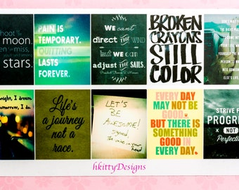 Full Box Inspirational Quote Stickers for your ECLP, Happy Planner, Filofax or PPP - 10 Stickers
