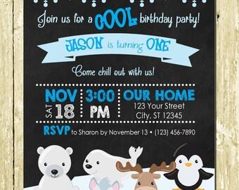 Winter Wonderland Arctic Animals Printed Birthday Party Invitations