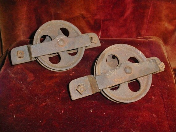 Antique Barn Door Rollers Hangers Pair Vintage Sliding Door Iron