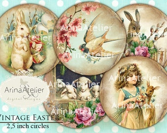 Vintage Easter CIRCLES 2,5 inch - digital circles -Shabby chic CIRCLES - Digital Easter Collage - pocket mirror, tags, scrapbooking, supply