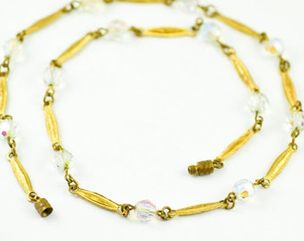 1930s Art Deco Aurora Borealis Glass Beads Gold Tone Links Screw Clasp Vintage Costume Jewellery