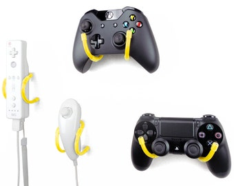 Wall Clip - Xbox, PlayStation, Wii, and Retro Game Controller Organizer - 4 Pack, Yellow