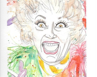 ORIGINAL Phyllis Diller Gouache & Ink Illustration 9x11 - PLUS FREE 11x14 Matte