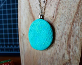 Turquoise stamped polymer clay necklace