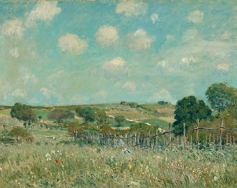 Meadow by Alfred Sisley Framed Canvas Print