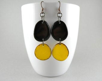 Caution Black and Yellow Tagua Nut Eco Friendly Earrings with Free USA Shipping SALE #taguanut #ecofriendlyjewelry