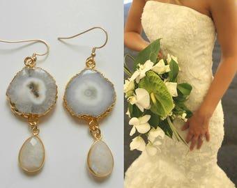 One of a Kind Bride Earrings, Wedding Day Jewelry, Earrings for Bride, White and Gold Earrings, Bohemian Bride, Geode Earrings, Moonstone