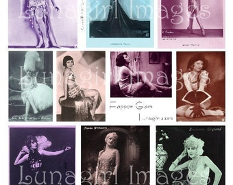 FLAPPER SHOWGIRLS, digital collage sheet, vintage photos, vintage images women ladies 1920s, dancers, glamour, altered art ephemera DOWNLOAD