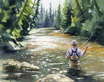 "Fly fishing Art Print - ""Hooked Up II"" - Watercolor Painting - Angling Art - Signed by Artist DJ Rogers - Wall Decor"