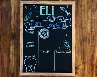 Hand Lettered Monthly Milestone Chalkboard