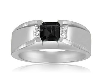 Men's Silver Ring, Black Onyx and Diamonds