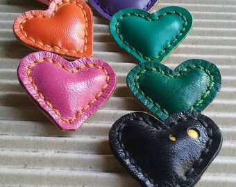Brooch Heart Little leather Pin valentines Gift Heart Brooch