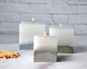 Concrete candle / Cube trio / housewarming / romantic / candles / concrete decor / white wax / scented candles