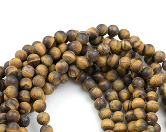 "Gorgeous Matte Tiger's Eye Tiger Eye High Quality in Matte Round- d 16"" Strand, 4mm, 6mm, 8mm, 12mm, or 14mm Beads- Wholesale Pricing"