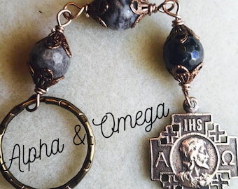 Large Alpha and Omega Bronze Keychain, 10mm Amazonite, Catholic Jewelry, Christian Jewelry