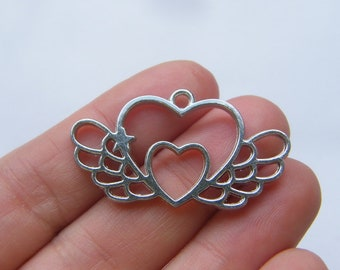 2 Hearts with wings charms silver tone AW183
