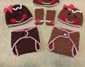Crochet Gingerbread hat, diaper cover and Leg Warmer set for Infants & Toddlers