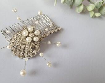 JUNE - Wedding Hair Comb, Bridal Hair Comb, Decorative Hair Comb, Wedding Hair Accessory, Silver Hair Comb, Prom Hair Comb