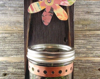 mason jar wall hanging, burnt reclaimed cedar, vase, candle, decoupage flower, pink