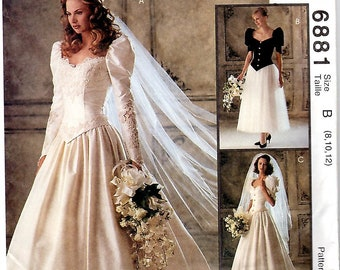 Misses Wedding and Bridesmaid Dress, Sizes 8,10,12, McCall's 6881