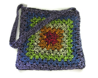Super Durable Double Thick Crochet Granny Square Market Bag, Tote Bag