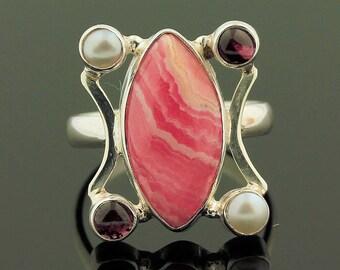 Multi-Gems Rhodochrosite Silver Ring // 925 Sterling Silver // Ring Size 7 // Handmade Jewelry