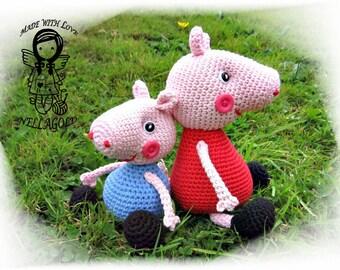Crochet PATTERN, Peppa Pig and George Pig, 2in1, DIY Pattern 103