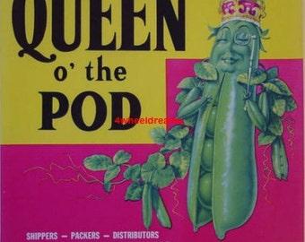 1940s - 60s Queen of the Pea Pods Scarce Watsonville CA Veggie Label
