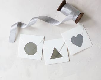"Silver Foil Large Stickers - 1.5"" - 36 pc - Circle / Triangle / Heart"