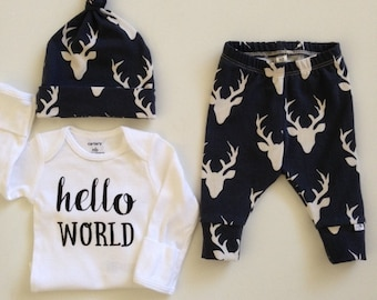 NEW! Oh Deers/Midnight Blue/Infant Leggings and Top Knot Hat/Newborn Outfit/Bring Home Outfit/Toddler Leggings