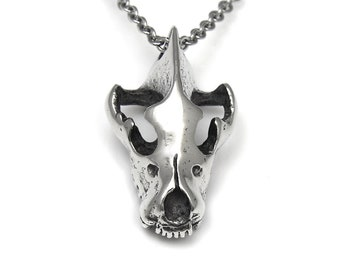 Hyena Skull Necklace, Carnivore Animal Head Pendant Jewelry in Pewter
