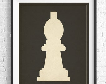 Chess Art, Bishop Chess Piece Print, Board Game Art, Game Room Wall Art, Game Room Art, Game Room Decor, Nerd Gift, Geek Gift, Gifts for Dad