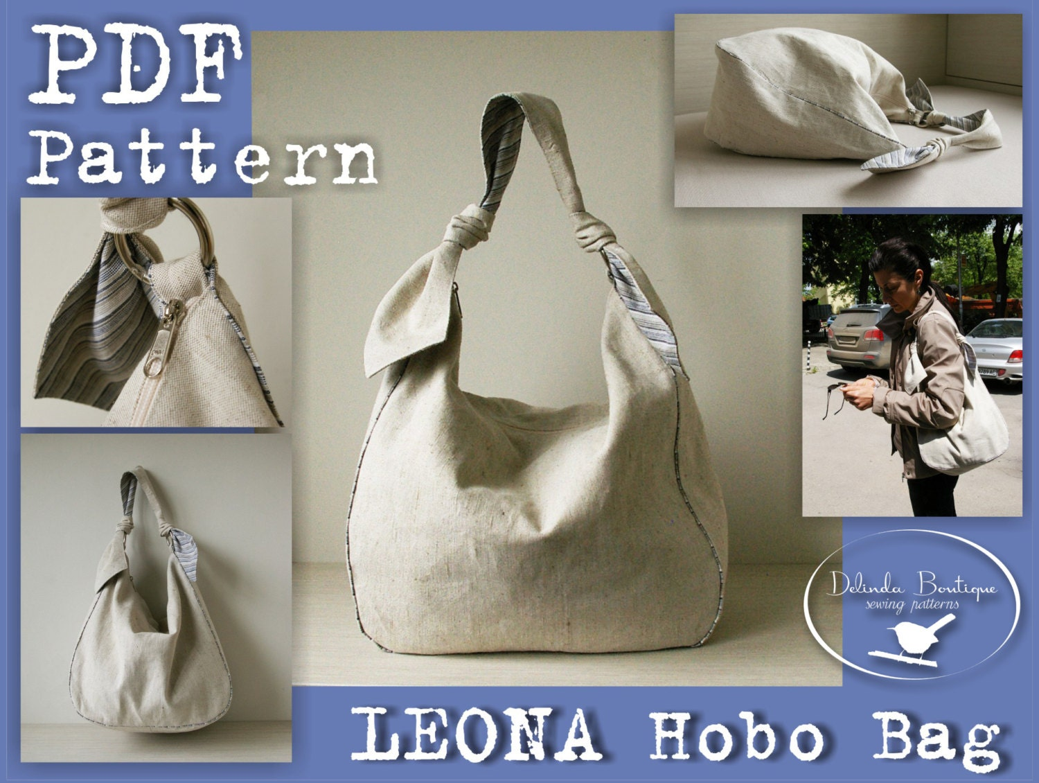 Pdf sewing pattern to make hobo bag sling tote leona instant zoom jeuxipadfo Image collections