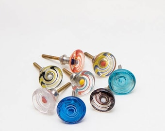 Set of 8 Glass Spiral Knobs