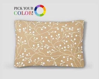 Pillow Sham, Standard Size Pillow, Floral Bed Pillow, Printed Pillow Cover, Standard Sham, Vines Pattern Pillow, Blue Bed Pillows