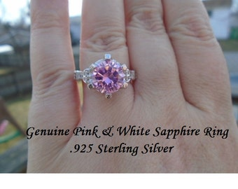 Genuine 3 ct Pink & White Sapphire Ring Size 9