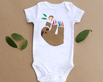 Sloth Baby One-Piece Bodysuit / Sloth Baby Clothes / Rainbow Animal Unisex Outfit / Screen Printed Sloth Bodysuit / Gender Neutral Baby Gift