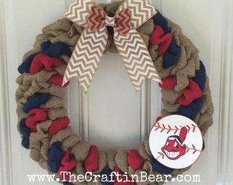 Cleveland Indians burlap wreath - Cleveland Indians wreath - Cleveland Indians - Cleveland Indians decor - Baseball wreath - Cleveland