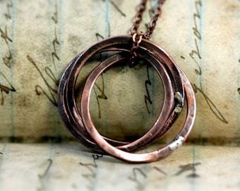Rustic Oxidized Copper Trinity Ring Necklace (E0247)