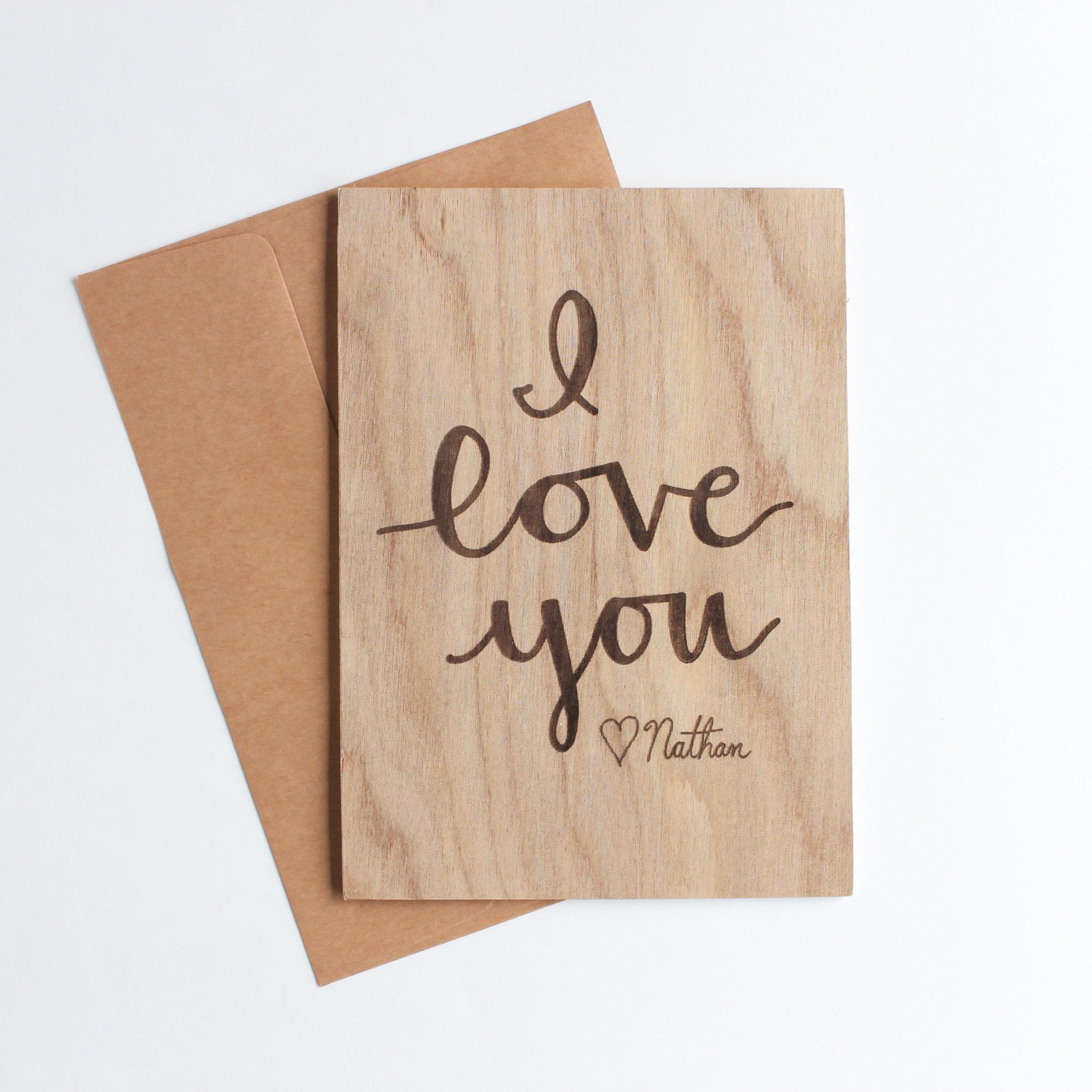 Liebe Karten personalisierte Holz Karte