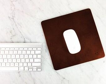 "Leather Mouse pad - Large size/ Elegant Personalized Mouse pad, 8.5"" by 8.5"" Custom Leather Mouse pad, Gift, Handmade Leather Mousepad"