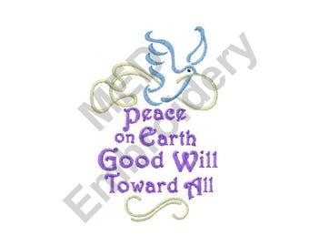 Peace On Earth - Machine Embroidery Design, Peace