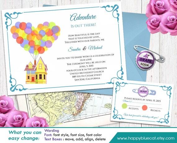 Up Themed Wedding Invitations: UP Pixar Inspired DiY Printable Wedding Invitation And Rsvp