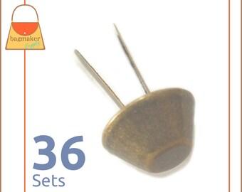 14 mm Purse Feet, Handbag Bottom Studs, Antique Brass Finish, 36 Feet, Handbag Purse Bag Making Hardware Supplies, PFT-AA004