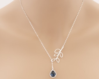 Blue Sapphire Lariat Leaf Necklace Sapphire Lariat Necklace Sapphire Jewelry Sapphire Pendant Wedding Jewelry For Her Lariat Jewelry BeadXS
