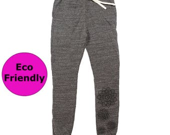 Eco Friendly Sweatpants   Organic Cotton Joggers w\ Mandala Print   Mandala Organic Clothing   Women's Joggers w\ Mandala Decal   Joggers