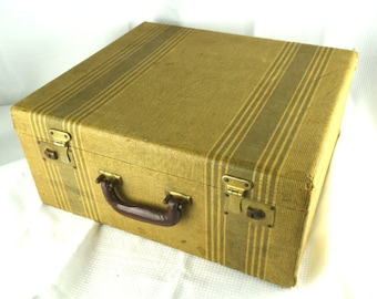 Vintage Suitcase Large Antique Travel Case Striped with Black Fabric Interior
