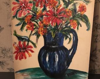 "Vintage Flower Bouquet in Blue Pitcher Original Oil Still Life Painting Signed ""Knapp"""