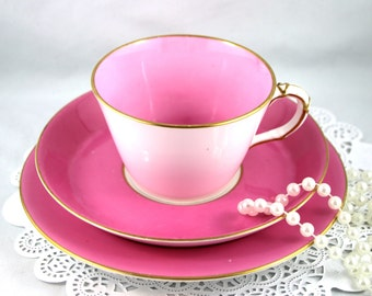 Vintage, Royal Worcester Trio, Lovely Plain Pink Gilded Pattern, Bone English China made in 1940s