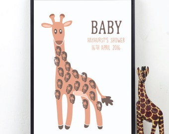 Giraffe Fingerprint Keepsake - BABY SHOWER - Christening - BIRTHDAY